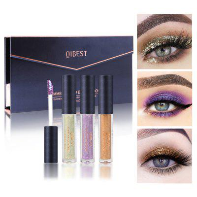 Qibest E19087 10 Colored Liquid Eye Shadow Set Professional Shiny Eye Liners Metallic Colorful Glitter Eyeshadow