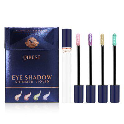 Qibest E19091 Smoke Tube Liquid Eye Shadow Set Professional Shiny Eye Liners Metallic Colorful Glitter Eyeshadow