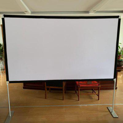 Portable Projection Screen Household Manual Stand Floor Holder Curtain Quick and Easy Folding 16 : 9