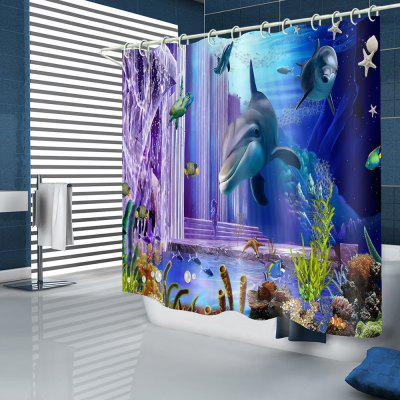 Dolphin Fish Underwater Pattern Waterproof Shower Curtain Home Decoration