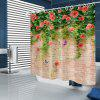Flower Butterfly Brick Pattern Waterproof Shower Curtain Home Decoration - MULTI