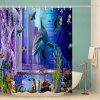 Dolphin Fish Underwater Pattern Waterproof Shower Curtain Home Decoration - MULTI