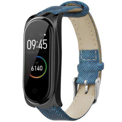 TAMISTER Denim Texture Watch Strap Leather Watch Band with Metal Case for Xiaomi Mi Band 4 / 3