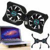 Portable Notebook USB Cooling Fan Small 2 Fans Cooler Collapsible Heat Dissipation Laptop Radiator - BLACK