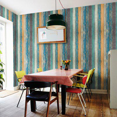 Retro Striped Wooden Wallpaper Sticker with Glue Bedroom Cupboard Living Room Dining Dressed 45cm x 10m