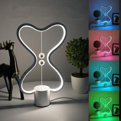 Brelong Dual Heart Shaped Balance LED Lamp Smart Electromagnetic Beads Switch Lights Creative USB Night Light for Bedroom Home Decor