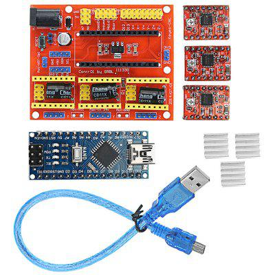 CNC Shield V4+ with Nano 3.0 A4988 Stepper Motor Driver Board Work with Official Arduino Board