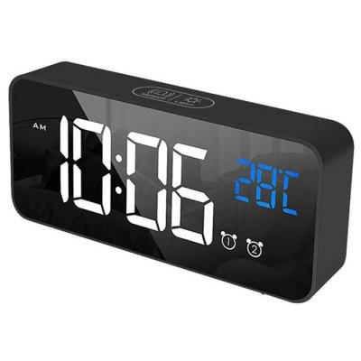 Digital Bedside Alarm Clock Charging Voice-controlled Alarm Clock Mirror LED Music Clock Two Sets of Alarm Clock Switches