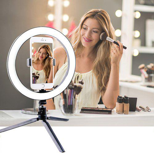 26cm Ring Light LED Selfie Mobile Live Photography Beauty Make-up Light with Tripod Trichromatic Dimming