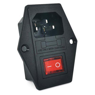 AC Power Socket 4-Pin with Light Fuse Switch Power Outlet