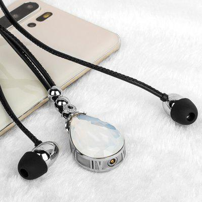 ZXQ i5 Smart Bluetooth Necklace Headphone Diamond Pendant Hanging Earphone Calf Grain Leather Lanyard Clothing Accessories