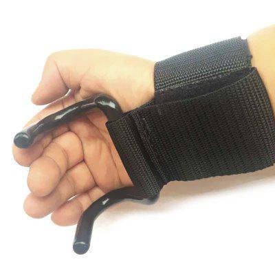 Weight Lifting Steel Hook Glove Hand Bar Grips Straps Fitness Wrist Support Lift Gloves for Weightlifting Strength Training Gym