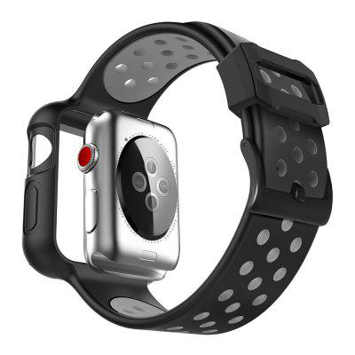 Silicone Strap with Protective Case for Apple Watch Series 5 4 3 2 1