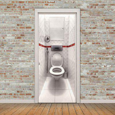 Creative 3D Toilet Pattern DIY Personalized Home Decorative Door Sticker Self-adhesive