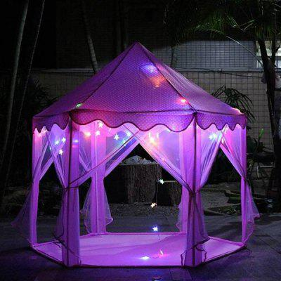 Outdoor Indoor Portable Folding Princess Castle Tent Kids Children Funny Play Fairy House with LED Star Lights