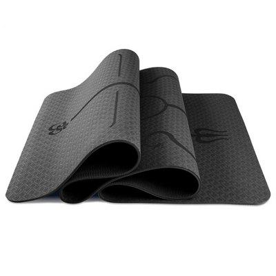 183 x 61 x 0.6cm TPE Yoga Mat Thickening Non-slip Carpet with Position Line