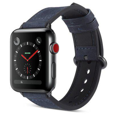 PU Leather + Silicone Matte Watch Strap Universal Pin Buckle Fashion Watch Band for 38mm / 40mm / 42mm / 44mm Watch