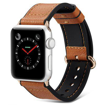 PU Leather + Silicone Watch Band 22.5cm Long Watch Strap with Pin Buckle for 38mm 42mm Apple Watch 40mm 44mm Watches