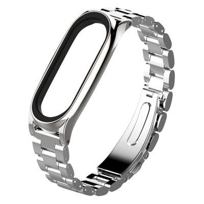 Three Beads Solid Stainless Steel Watch Band Durable Strap for Xiaomi Mi Band 3 / 4 Smart Wristband