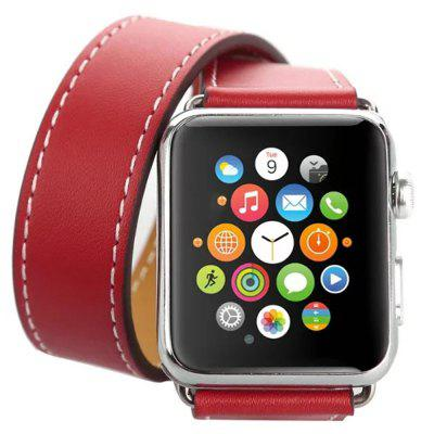Soft Leather Long Strap Pin Buckle Business Watch Band for 38mm 42mm Apple Watch 40mm 44mm Watches