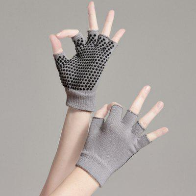 Non-slip Yoga Cotton Gloves Half-finger Soft Knitted Glove with Silicone Dots for Fitness Sports Training