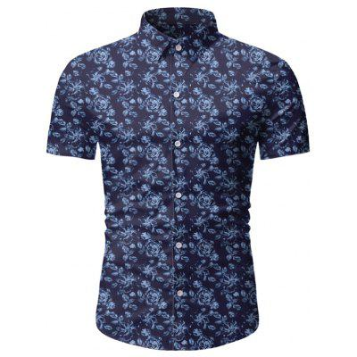 Men Printed Short-sleeved Casual Shirt
