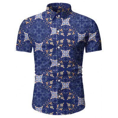 Men Summer Printed Short-sleeved Casual Shirt
