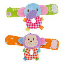 Baby armbånd leketøy Soft Rattle Fabric Watch Band Cartoon Wrist A Par