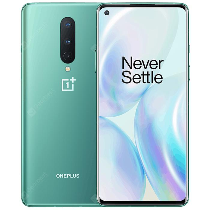 Oneplus 8 5G Smartphone 6 .55 inch Snapdragon 865 OxygenOS 48MP 2MP  16MP Camera 4300mAh Battery International Version  Light Sea Green 8GB 128GB
