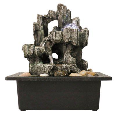 JS1928 11,4 Inch Tabletop Fountain 3-Tiered Resin-Rock Fountain Indoor met LED-licht Rolling Ball