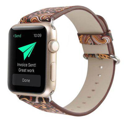 Unisex Chinese Style Printing Leather Strap for Apple Watch