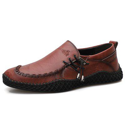 IZZUMI Men Breathable Shoes Low-top Handmade Casual Footwear Large Size