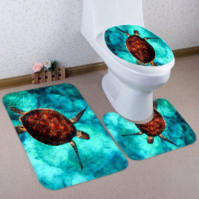 Turtle Sea Water Pattern Coral Fleece Toilet Three Pieces Square Pad Concave Pad Toilet Seat Cover