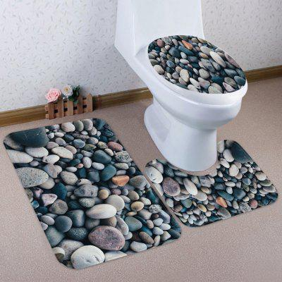 Small Stone Pattern Coral Fleece Toilet Three Pieces Square Pad Concave Pad Toilet Seat Cover