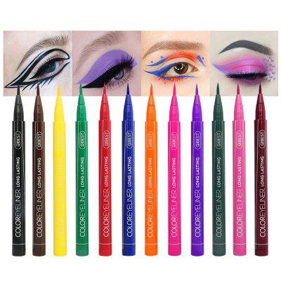 Qibest 12 Color Liquid Eyeliner Pen Waterproof Long-lasting Cat Eye Makeup Colorful Eye Liner Cosmetic Pencil