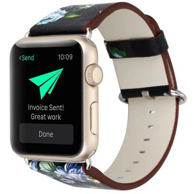 Pastoral Style Floral Leather Strap Watch Band for 38mm 42mm Apple Watch 40mm 44mm Watches