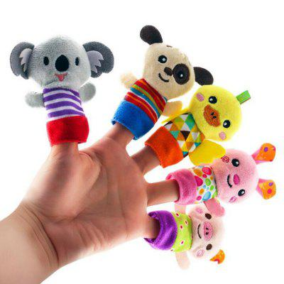 Fun Cartoon Animal Finger Puppet Children Appease Stuffed Cartoon Toy 5PCS
