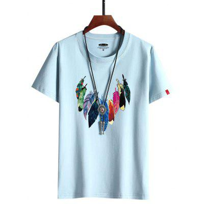 Feather Pattern Male Cotton T-shirt Short-sleeved Printed Summer Shirt for Men G6008