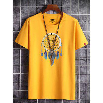 Feather Ball Printing Men's Cotton T-shirt Round Neck Short-sleeved Summer T Shirt for Men