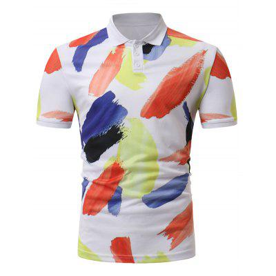 Men Summer Printing Casual Shirt Turn-down Collar Short Sleeves Top