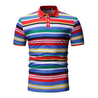 Men Summer Stripe Printing Shirt Turn-down Collar Short Sleeves Casual Top