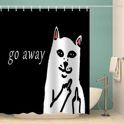 Letter and Cartoon White Cat Pattern Waterproof Shower Curtain Home Decoration
