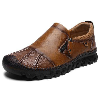 IZZUMI Men Leather Shoes British Style Hand-stitching Non-slip Casual Footwear