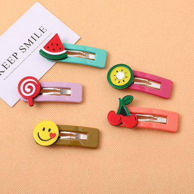 Cute Children Hairpin Fruit Smiley Style Princess Side Clip Beautiful Hair Accessories for Girls 5PCS