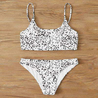 Women 2-piece Bikini Set Black Dot Print Middle Waist Beach Swimsuit Padded Bra Bathing Suit Swimwear