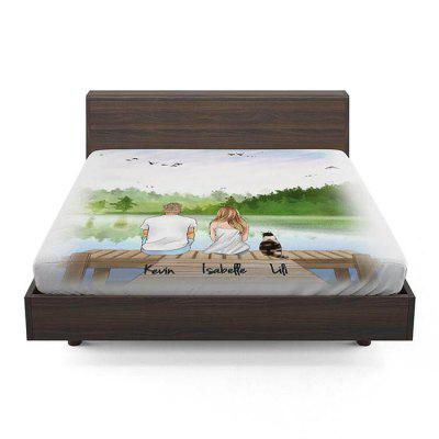 Couple and Dog Pattern 3D Printing Bedroom Bed Linen Fitted Sheet Mattress Cover Bedding Set