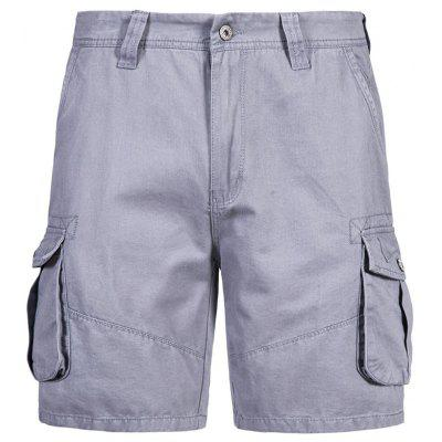Man Casual Shorts Summer Solid Color Comfortable Multi-pocket Pants