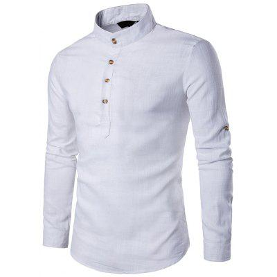 Men linnen hemd Fashion Casual Stand Collar effen kleur met lange mouwen Top