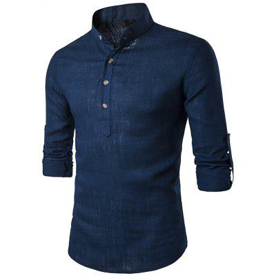 Men Linen Shirt Fashion Casual Stand Collar Solid Color Long Sleeve Top