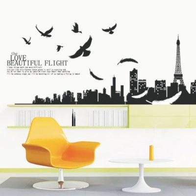 DIY City Background Pattern Wall Sticker PVC Mural Waterproof Removable Decorative Painting Wallpaper